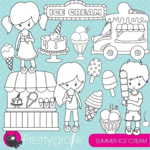 Summer ice cream stamps