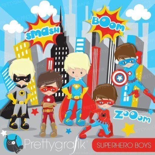 Superhero boys clipart