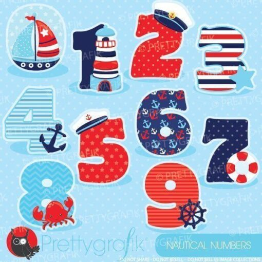 Nautical numbers clipart