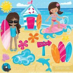 Surfer girls clipart
