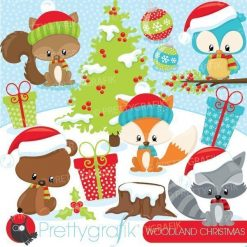 Woodland Christmas clipart