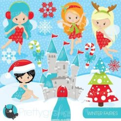 Christmas fairies clipart