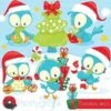 Christmas birds clipart