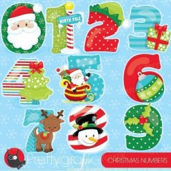 Christmas numbers clipart