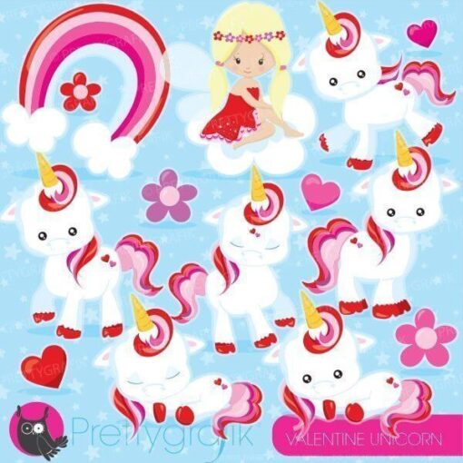 Valentine unicorn clipart