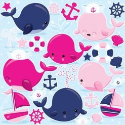 Nautical whales clipart