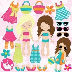 Summer girls clipart