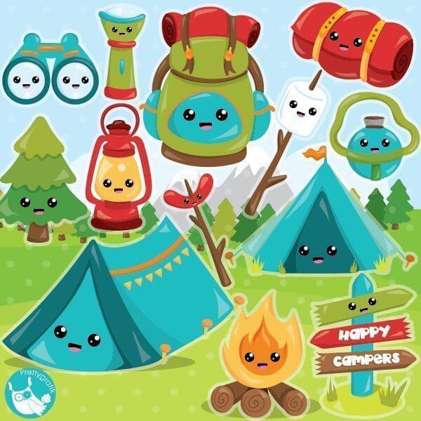 Camping kawaii. Clipart
