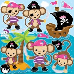 Pirate monkey clipart