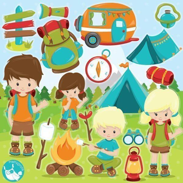 Camping kids clipart - Prettygrafik Store