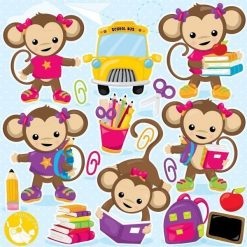 Monkey school clipart
