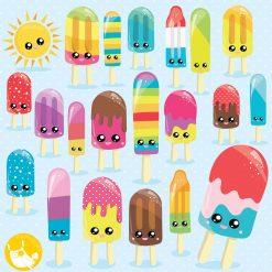 Kawaii popsicle clipart