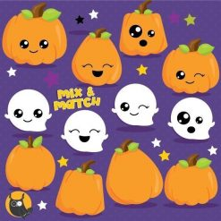 Kawaii pumpkin clipart