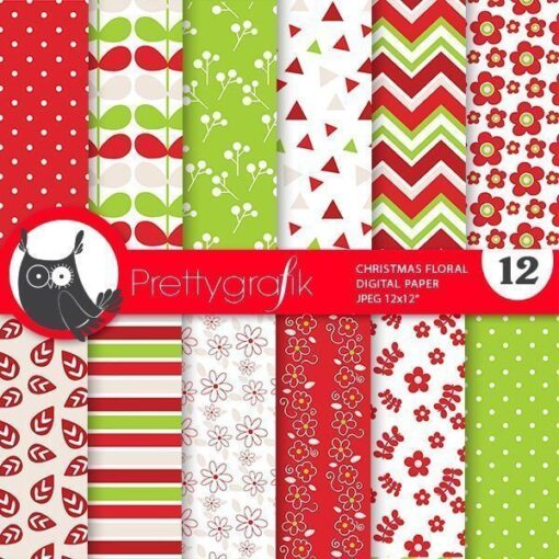 Christmas floral papers