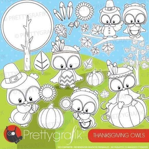 Thanksgiving owl stamps