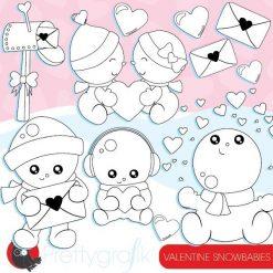 Valentine snowman stamps