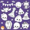 Halloween kawaii stamps