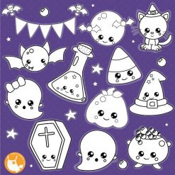 Halloween kawaii stamps