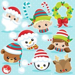 Christmas faces clipart