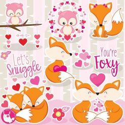Fox love clipart