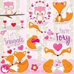 Fox love clipart