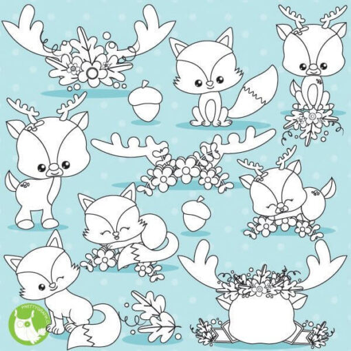 Fall animals stamps