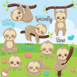 Sleepy sloth clipart