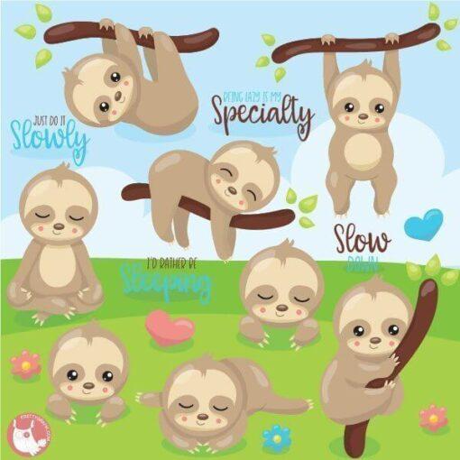 Sleepy sloth clipart
