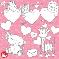 Valentine animals stamps