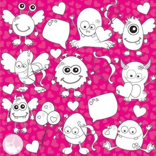Valentine monster stamps