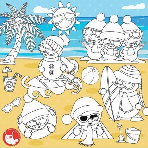 Summer snowmen stamps