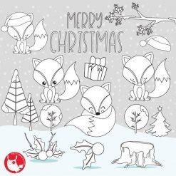 Christmas fox stamps