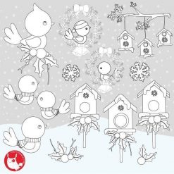 Christmas birds stamps