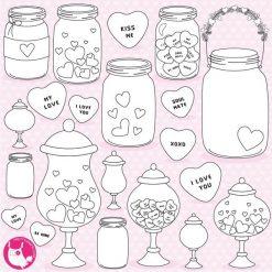 Valentine jars stamps