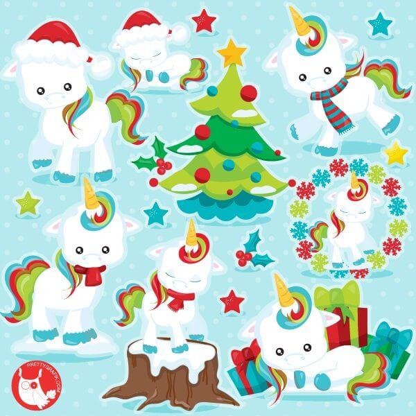 Christmas Unicorn.Christmas Unicorn Clipart