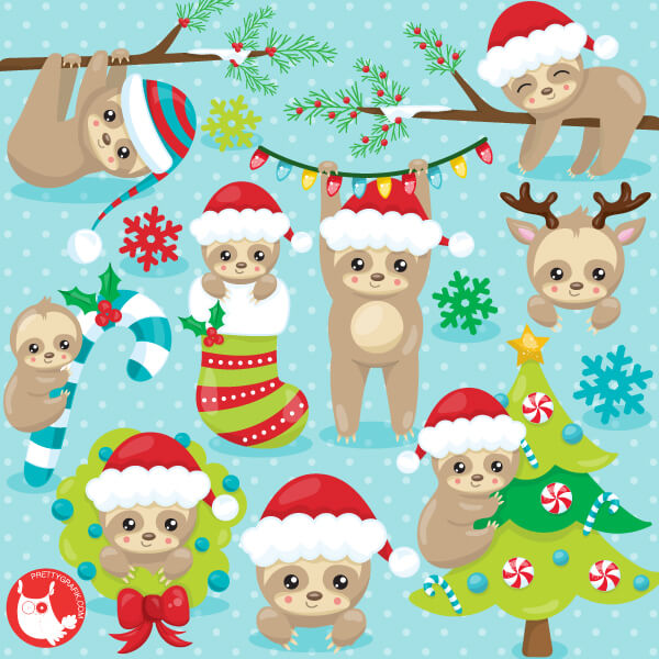 Christmas Sloth.Christmas Sloth Clipart